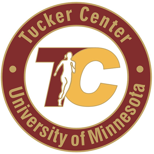 "Tucker Center seal, a maroon ring with the words ""Tucker Center"" in gold at the top and ""University of Minnesota"" in gold at the bottom, and the conjoined letters T in maroon with C in gold in the center featuring a profile in gold of a runner with a ponytail"