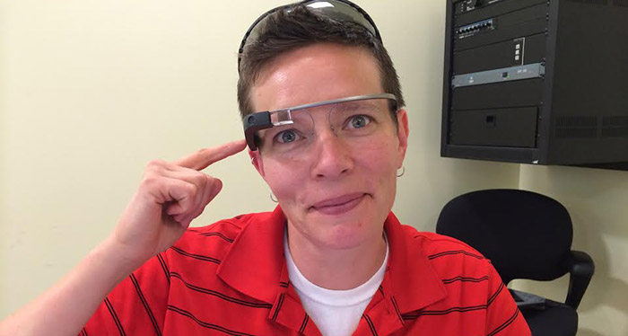 Sara Schoen sporting Google Glass