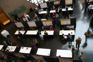 Overhead view photo of poster presentations