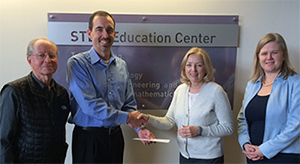 (L-R) STEM Co-Director Karl Smith, Chad Tverberg, STEM Co-Director Kathleen Cramer, CEHD Senior Development Officer Jane Townsend