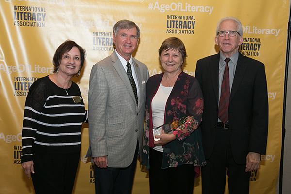 [left to right]: Diane Barone, Outgoing ILA President Jerry Johns, Distinguished Professor Emeritus and award donor, Lori Helman, William Teale, Incoming ILA President