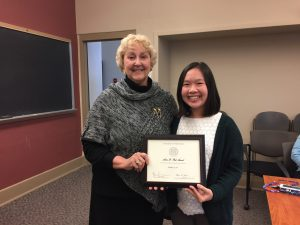 Natalie Low receiving Anne D. Pick Award for an Outstanding Child Psychology Major