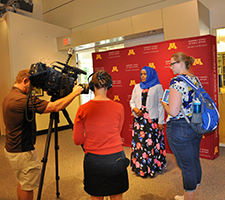 ICI's Anab Gulaid (in blue headscarf) is interviewed on camera at the University of Minnesota's Humphrey School of Public Affairs on July 8, 2017.