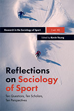 cover of Reflections on Sociology of Sport volume showing person skiing down snow-covered slope
