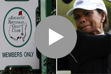 Augusta National road sign and woman golfer with video play button
