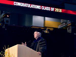 Professor at podium.