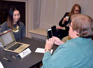 CEHD Dean Quam captures a photo of Gaozer Nancy Xiong.