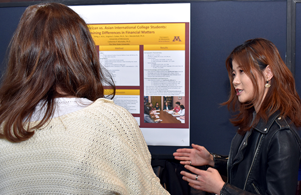 A graduate student explains their research.