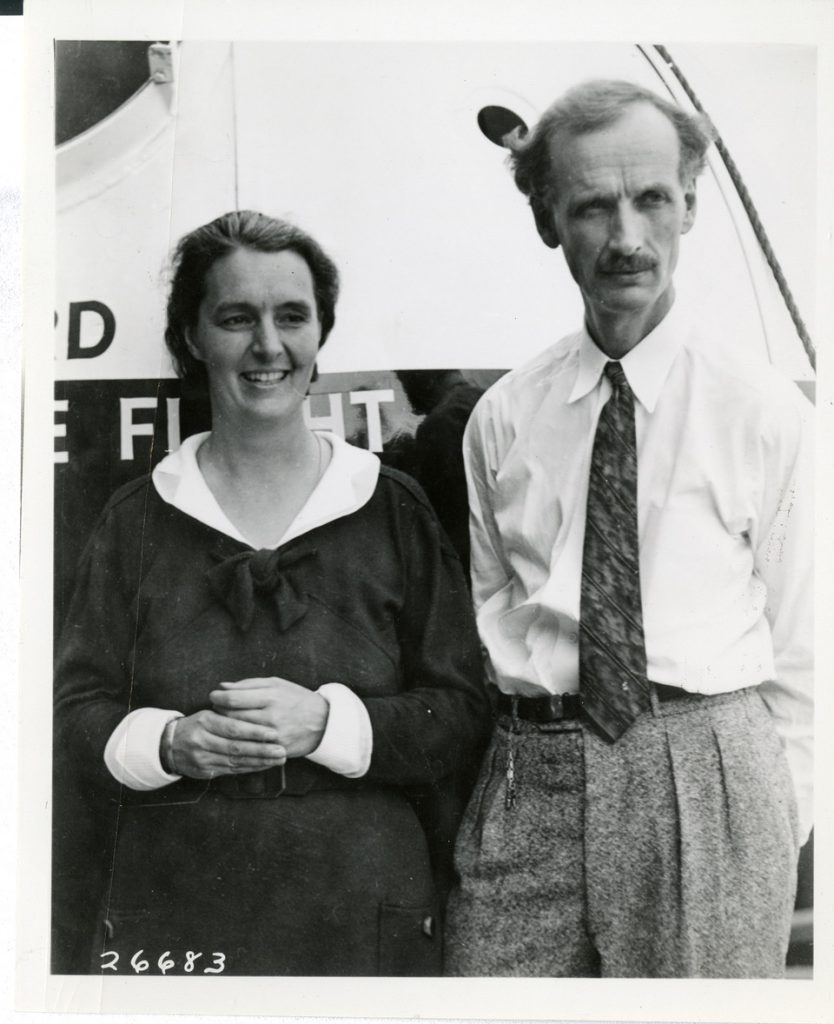 Archival photo of Jeannette and Jean Piccard next to a space craft
