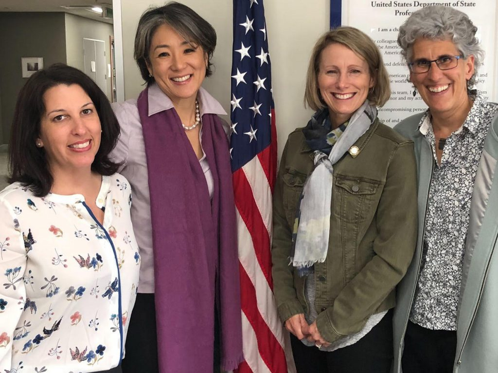 (l. to r) Natalie Wilkins, Foreign Service Officer and Katelyn Choe, Consul General (both of the U.S. Consulate in Auckland, NZ); Nicole M. LaVoi; Dr. Sarah Leberman, Professor of Leadership in the School of Management, Massey University