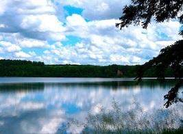 Lake on the Saint John's University campus in the summer